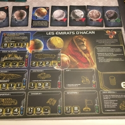 La fiche de faction, qui résume notamment les caractéristiques des vaisseaux. Au-dessus, les planètes possédées qui donnent le nombre de ressources et d'influence disponibles pendant le tour.